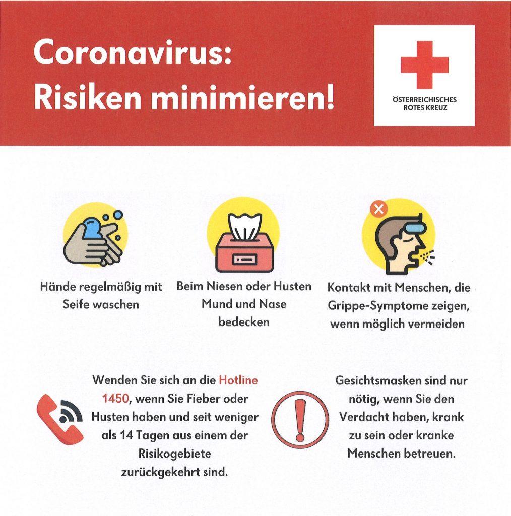 """Informationsschreiben: """"Coronavirus"""" – Maßnahmen zum Schutz der Bevölkerung, Empfehlungen und Hinweise"""
