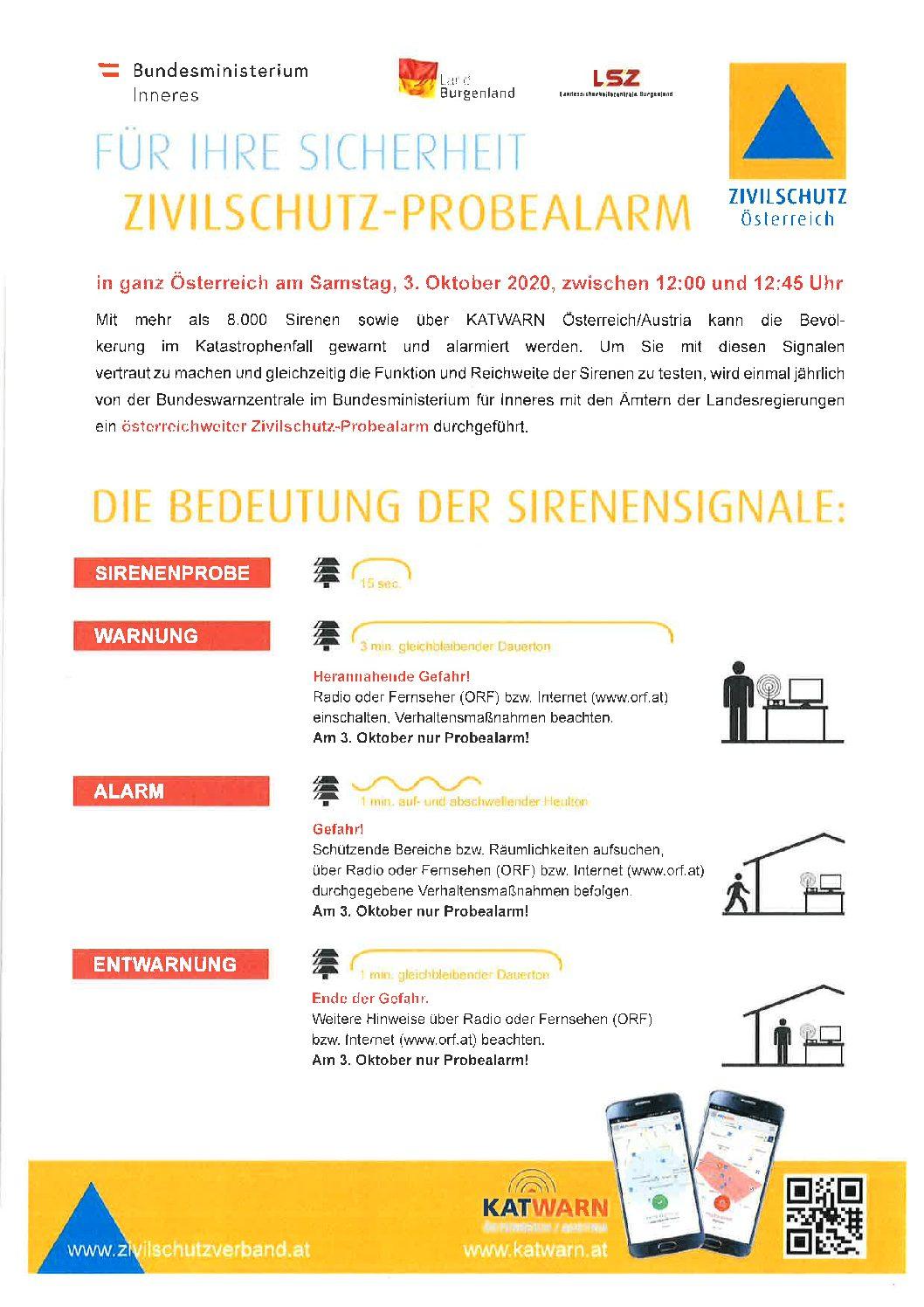 Zivilschutz-Probealarm am Samstag, 3. Oktober 2020 zwischen 12:00 und 12:45 Uhr