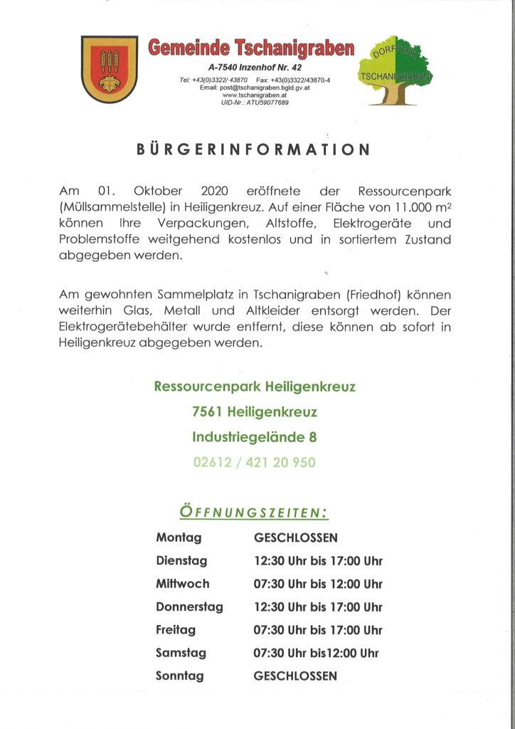 Bürgerinformation zum Ressourcenpark Heiligenkreuz
